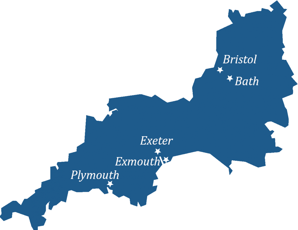 Map of the South West